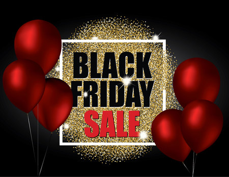 Black friday sale with gold balloons and red glitter effect. Vector illustration.