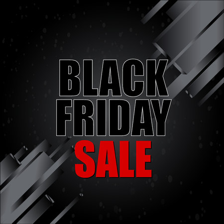 Black friday sale with abstract elements on black background. Vector illustration.