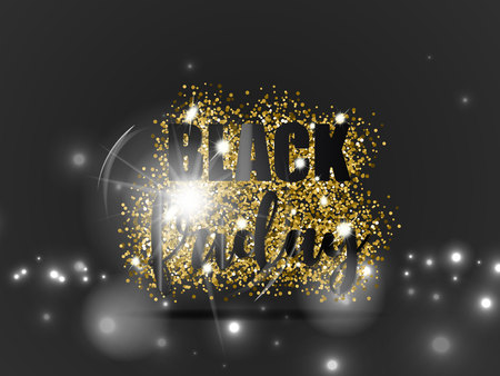 Venta de viernes negro con brillo de oro y efecto de luz sobre fondo negro. Ilustración vectorial Foto de archivo - 89179270