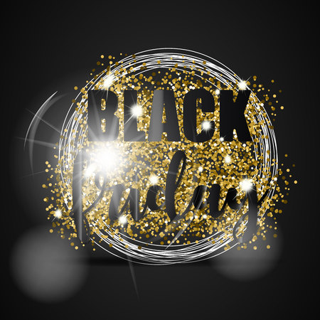 Black friday sale with gold glitter, white circles and light effect on black background. Vector illustration.