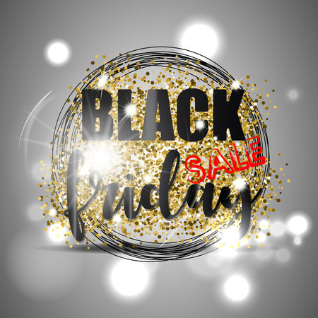 Black friday sale with gold glitter, black circles and light effect on silver background. Vector illustration. Illustration