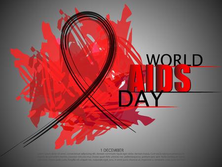 World Aids Day abstract brush ribbon. Vector illustration.