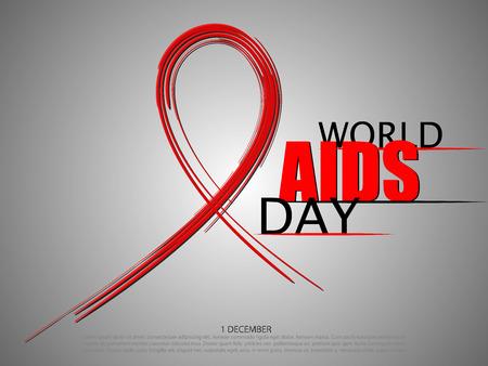World aids day abstract brush ribbon vector illustration.
