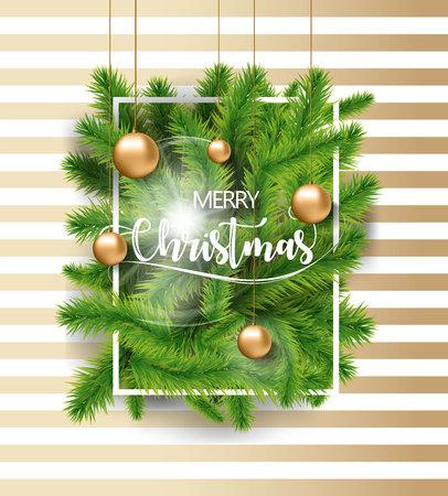 白とゴールドの背景にゴールドおもちゃ電球と白フレームとメリー クリスマス ツリーは緑枝。  イラスト・ベクター素材