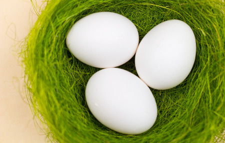 Easter white eggs in green nest on pastel yellow background. Close up minimalism style. Stok Fotoğraf