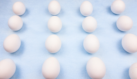 White easter eggs on pastel blue background close up macro. Stok Fotoğraf