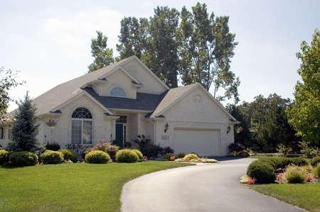 Beautiful new brick home. Stock Photo