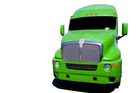 Big green semi truck isolated on a white background.