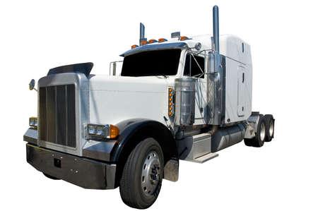White semi truck isolated on a white background. Reklamní fotografie