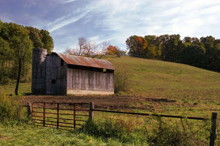rusting: Old Barn with a rusting tin roof in rural Ohio.