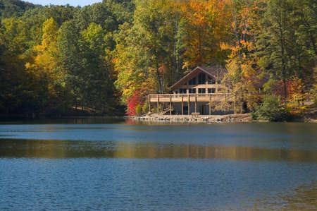 A lodge on the lake in Allen Park Ohio. Located near Lancaster in the Hocking Hills region. Beautiful colors of autumn on this peaceful lake. photo