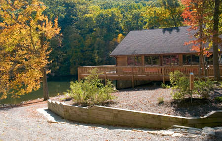 Beautiful lodge in the fall, located at Allen Park near the city of Lancaster Ohio. photo