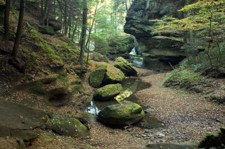 A rock formation that is said to look like a sphinx head. Located in Hocking Hills Ohio on the Old Mans Cave trail. Its in the middle upper portion of the photo and is a profile looking to the left. Stock Photo