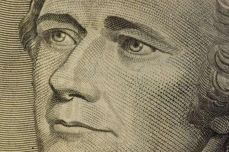 alexander hamilton: Macro di Alexander Hamilton ritratto su dieci dollari USA fattura.