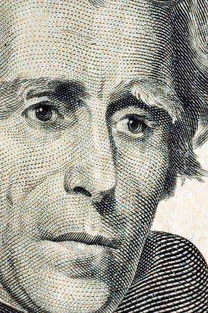 andrew: Macro of Andrew Jackson portrait on the U.S. ten dollar bill. Stock Photo