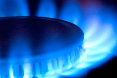 Close-up of a natural gas flame on a stove top.