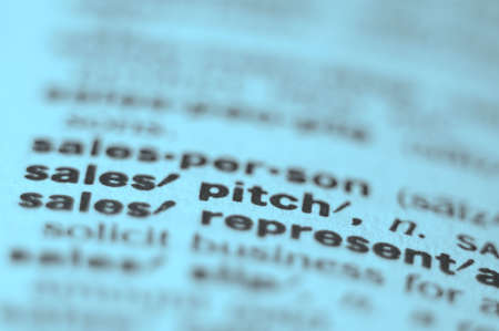 business pitch: Extreme macro or close up of the word SALES PITCH. Very shallow depth of field is intentional and shows only the word sales pitch in focus.
