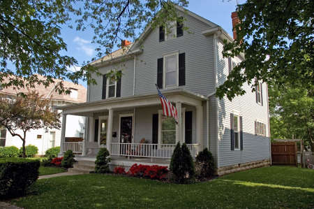 A Colonial style house that can be found throughout the Midwest parts of the United States. This classic American home is located in Lancaster Ohio.