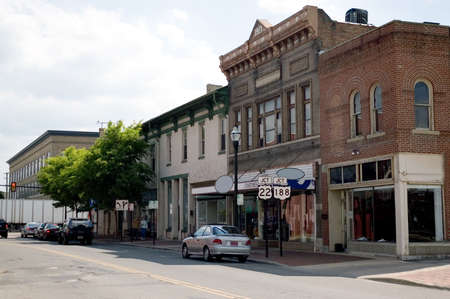 A look down the Main street of a small town in the Midwest of the U.S.A.