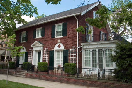 Red brick Colonial Architecture style. This beautiful home is located in the historic Lancaster Ohio. Stock Photo