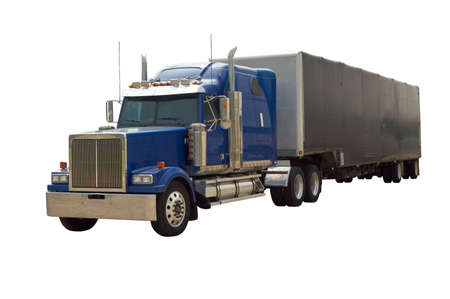 A blue 18 wheel semi truck with a trailer isolated on white.