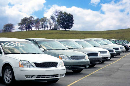 Car dealers lot full of sedans for sale.  Look in my gallery for more car photos like this. Stock Photo