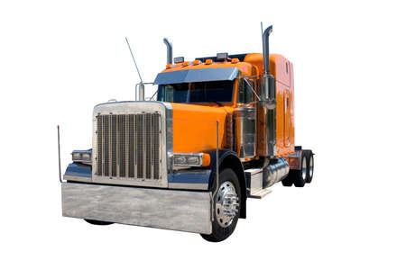 semi truck: An orange 18 wheel semi truck  isolated on white. Look for more trucks in my gallery. Stock Photo