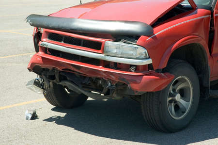 Front end damge to an automobile after a car accident.