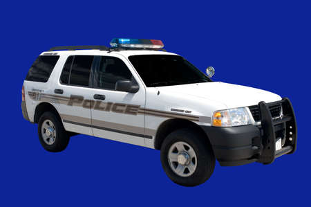 Isolated Police Cruiser vehicle. This one is a command unit.