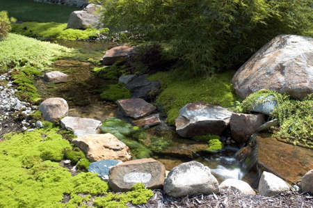 Beau Beautiful And Peaceful Japanese Water Garden. Complete With A Small  Waterfall Amd A Flowing Stream