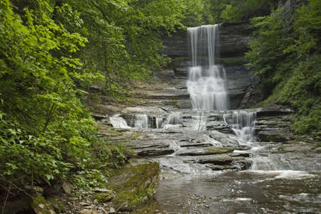 Angel Falls is a well hidden gem in the central New York area.  Framed with the beautiful green colors of spring that just add to the beauty of the scene.  One of many waterfalls in my collection. photo