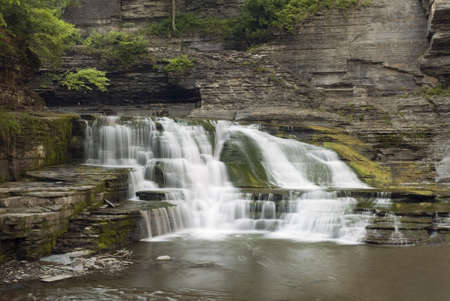 enfield: Una cascata di bella 20 piedi in Glen Enfield nel Parco statale di Robert Treman, New York. Verde muschio, licheni e felci lungo le pareti della gola di aggiungono alla bellezza della scena. Archivio Fotografico