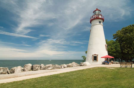 Marblehead Lighthouse. Located on the shores of Ohios  Lake Erie. Still in operation today. Stock Photo