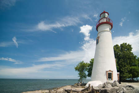Marblehead Lighthouseon a beautiful sunny summer day. Located on the shores of Ohios  Lake Erie.