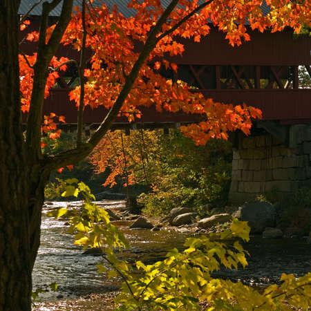 hampshire: R�pida puente sobre el R�o en Nueva Hampshire en un hermoso d�a de oto�o. Foto de archivo