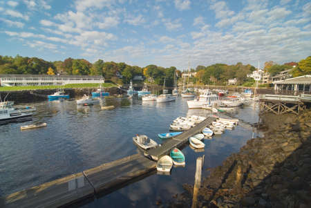 rowboats: Perkins Cove in Maine on a beautiful fall day. This is a tiny seaside harbor for local fishermen.