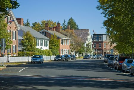 Main street in Woodstock Vermont. Old restored homes and buildings from the early 1800s all along the road.