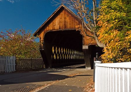 Middle Bridge in Woodstock Vermont on a beautiful autumn day.
