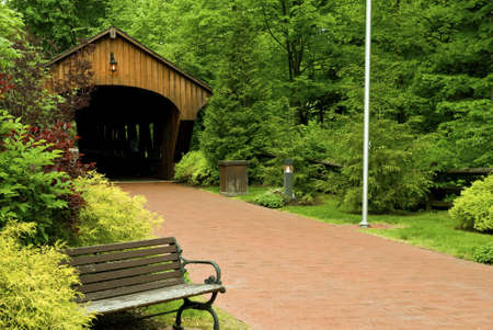 This very beautifully landscaped covered bridge is located in Olmstead Falls Ohio. Stock Photo - 4992596