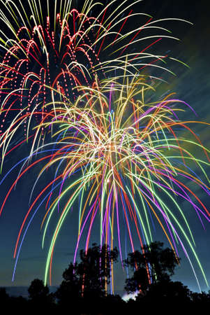 Holiday celebration of a colorful fireworks display.  photo