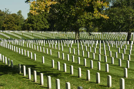 Rows of grave stone markers in Arlington National Cemetery in Washington DC.