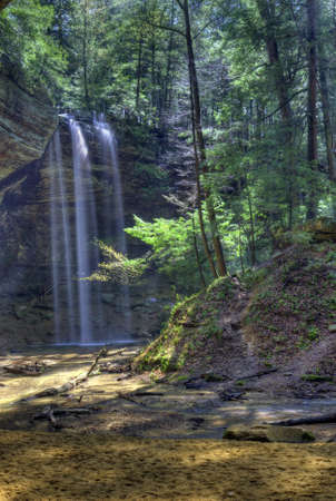 Ash Cave Falls  in Hocking Hills Ohio. Seen after a heavy period of rain.