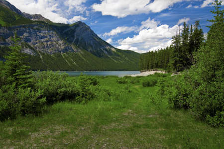 canmore: Spray lake in the Canadian Rockies near Canmore Alberta Canada.  Stock Photo