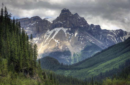 british columbia:  Yoho National Park in British Columbia Canada. The rugged Rocky Mountains as a backdrop.