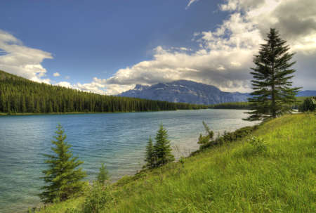 canmore:  Spray lakes in the Canadian Rockies near Canmore, Alverta Canada.  Stock Photo