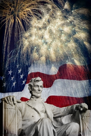 Compsite photo of the statue of Abrahma Lincoln at the Lincoln Memorial with a flag and fireworks in the background  Nice patriotic image for Independence Day, Memorial Day, Veterans Day and Presidnets Day  Stock Photo