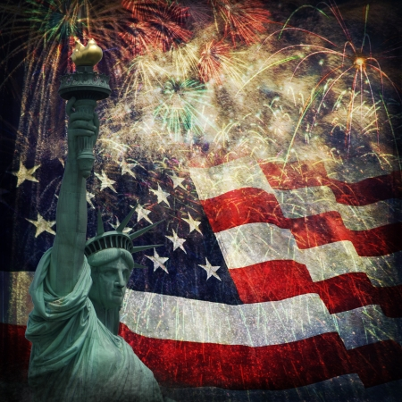 Composite photo of the statue of Liberty with a flag and fireworks in the background  Given a grunge overlay for a nice aged effect   Nice patriotic image for Independence Day, Memorial Day, Veterans Day and Presidents Day  Stock Photo