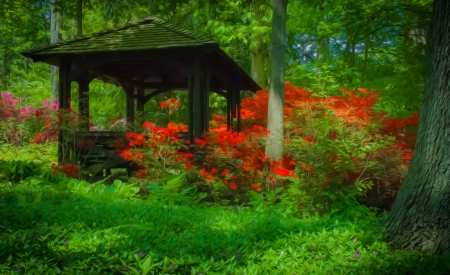 Beautiful manicured shade garden with a Gazebo surrounded by blooming rhododendron and azalea shrubs and trees and ferns with oil painting effect
