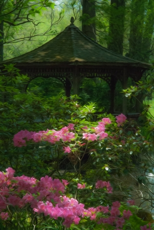 Beautiful manicured shade garden with a Gazebo surrounded by blooming pink rhododendron and azalea shrubs and trees and ferns with oil painting effect