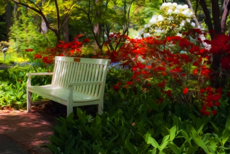 Beautiful manicured shade garden with a white park bench surrounded by blooming rhododendron and azalea shrubs and trees and ferns with oil painting effect Stock Photo